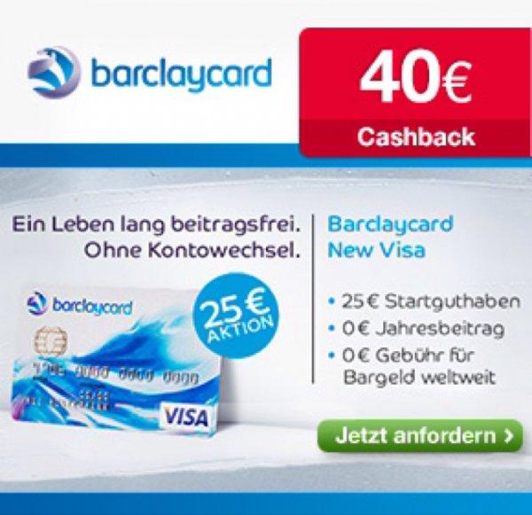 [Aktion verlängert] Barclaycard Visa kostenlos mit 25€ Startguthaben und 40€ Cashback!