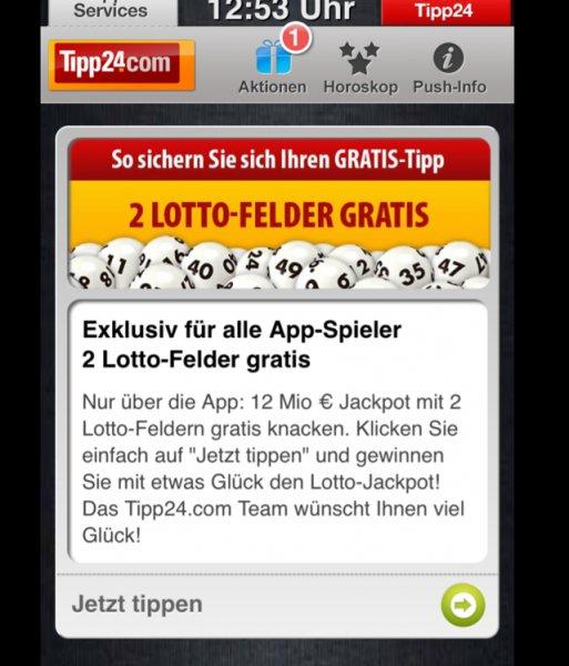 Tipp24 2Felder geschenkt für App Nutzer