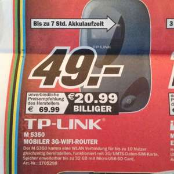 [Lokal Media-Markt Bochum] TP-Link M 5350 mobiler WLAN Hotspot