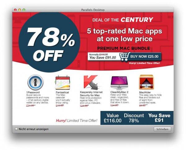 """Premium Mac Bundle"" mit 1Password, Fantastical, CleanMyMac, MacHider & Kaspersky Internet Security"