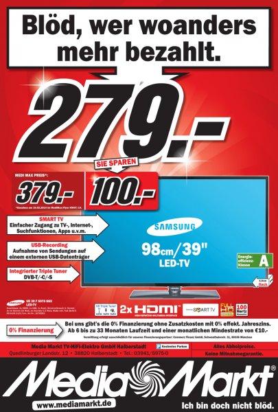 "LOKAL Samsung UE39F5070 98cm (39"") LED-TV -Full-HD, Triple Tuner, 100Hz, E-Effizienz A"