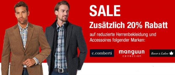 20% Rabatt auf reduzierte Herrenbekleidung + Rabattcode @Galeria Kaufhof