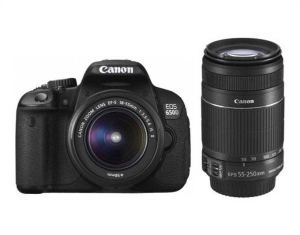 Canon EOS 650D mit Objektiv EF-S 18-55mm IS II und EF-S 55-250mm IS