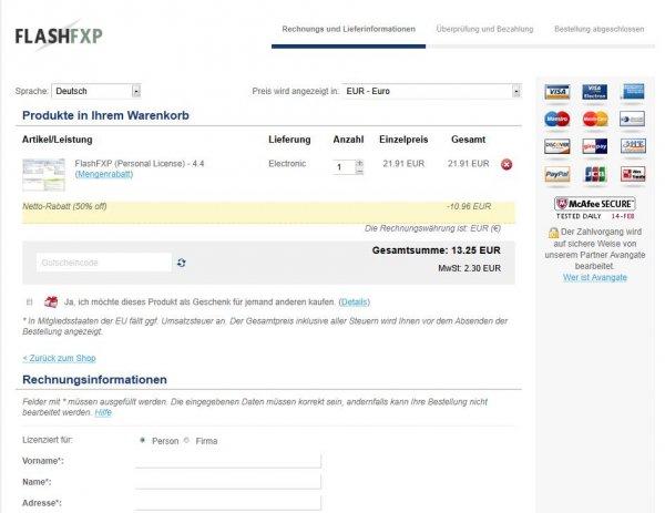 FlashFXP für 13.25€ statt  26.51€ (inkl. MwSt) - LEGAL!