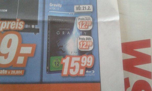 3D BD Gravity 12.99€, billiger als normale BD (Expert Koblenz)