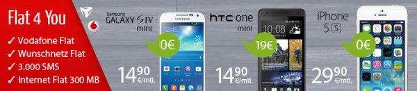 4-fach Flat 4 You ab 14,90 € im Monat mit top Smartphone