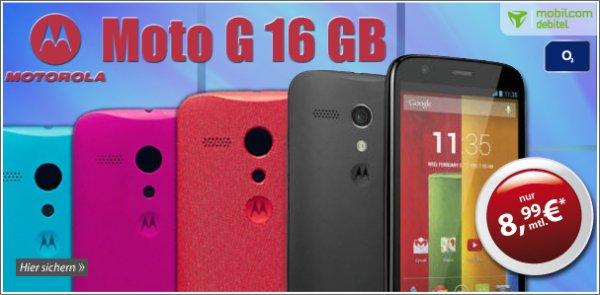 Motorola Moto G 16GB + Internet + o2 + 200 SMS + 50 Min nur 8,99€ im Monat
