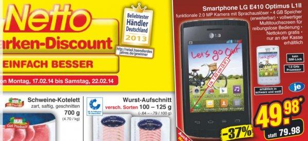 [Lokal - Netto ohne Hund] LG E410 Optimus L1 II schwarz/weiß - Android Smartphone für 49,98- EUR