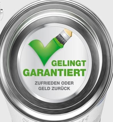 Geld-Zurück-Garantie für ein Gebinde Farbe (inkl. Porto)