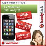 Apple iPhone 4 16GB (Netlock) + 2xmobilcom-debitel free Vodafone (24 Monatsvertrag) für insgesamt 531,90€