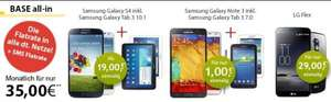 Bundles mit Base All-In Allnet-Flat (35€/Monat), z.B. Galaxy S4 + Galaxy Tab 10.1