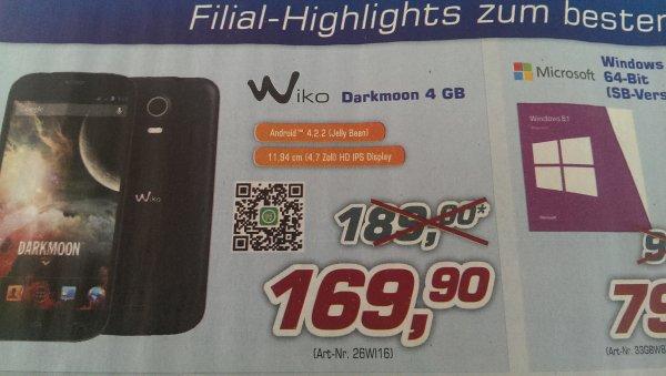 Wiko DARKMOON Smartphone (11,9 cm (4,7 Zoll) Touchscreen, 1,3 GHz, Quad-Core, Dual-SIM, 1 GB RAM, 8 Megapixel Kamera, 5 Megapixel Frontkamera, 4 GB interner Speicher, Android 4.2)