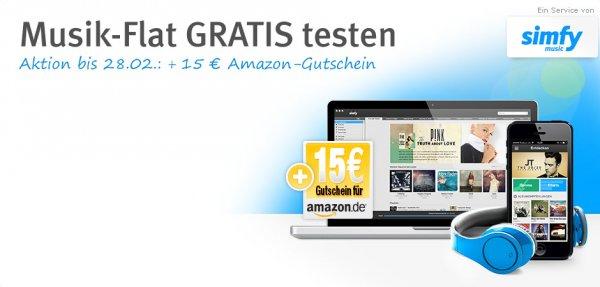 [web.de] Simfy gratis 1 Monat testen + 15 € Amazon Gutschein