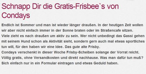 Gratis-Frisbee`s von Condays.de