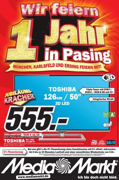 [MM München] Toshiba 50L7363DG 126 cm (50 Zoll)  200Hz AMR, DVB-T/-C/-S, CI+, WLAN, Smart TV, HbbTV) für 555€