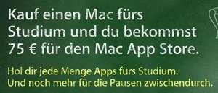 Apple Mac Kaufen und 80€ Rabatt für einen Drucker. Zusätzlich für Studis 75€ iTunes Karte