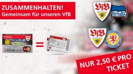 2,50€ Eintritt beim VfB Stuttgart gegen Hertha und Braunschweig