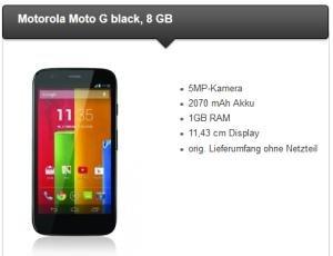 TALKLINE Motorola Moto G 8GB Android Smartphone mit O2 Flatrate, Festnetz-Flat und 300 MB Daten insgesamt nur 118,80 Euro