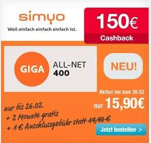 [simyo] Giga-all-net 400 / effektiv 8,37 Euro pro Monat