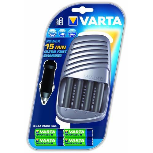 Ladegerät Varta Ultra Fast Charger + 4x AA 2500mAh (Ladezeit für 2000 mAh Mignon-Akkus: 15 Min)