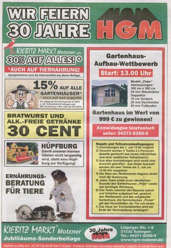 [LOKAL] 30% auf alles im Kiebitzmarkt Sulingen - auch auf Tiernahrung! 15 % auf Gartenhäuser