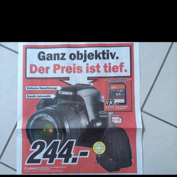 Lokal MM Reutlingen Canon EOS 1100D + EF-S 18-55mm + Tasche 244,--