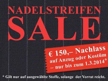 [Offline] Nadelstreifen-Sale bei Dolzer / 150 € Rabatt auf Maßkonfektion