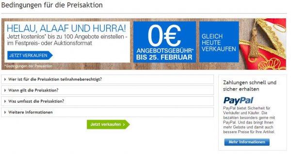 5 Tage keine Angebotsgebühr auf ebay.de vom 21.02.2014 - 25.02.2014 - Sofortkauf kostenlos