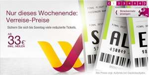 Germanwings Wochenend-Aktion: Verreise-Preise ab 33€