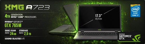 """Für Studenten: Schenker XMG A723 Gamer Notebook 17"""" i7-47000MQ + GT765M + 8GBRam + 240GB SSD + 1000GB HDD + Win 8"""