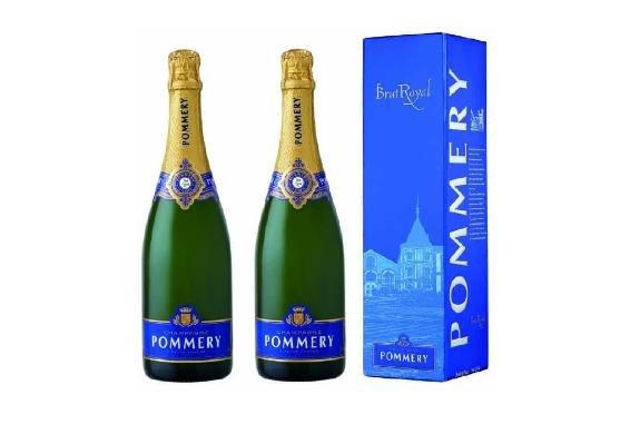 2 Flaschen Champagner Pommery Brut Royal in Geschenkpackung