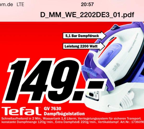 Lokal MM Weiterstadt - Tefal GV 7630 für 149€ anstatt idealo ab 199€