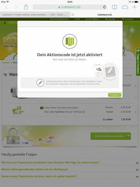 Lottoland: 4 Felder spielen, eines bezahlen ... 1,50€