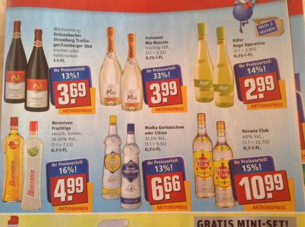 [Rewe] Vodka Gorbatschow/Gorbatschow Citron 0.7l für 6.66€
