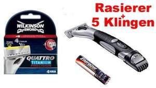 WILKINSON QUATTRO TITANIUM PRECISION RASIERER + 5 Klingen + Batterie