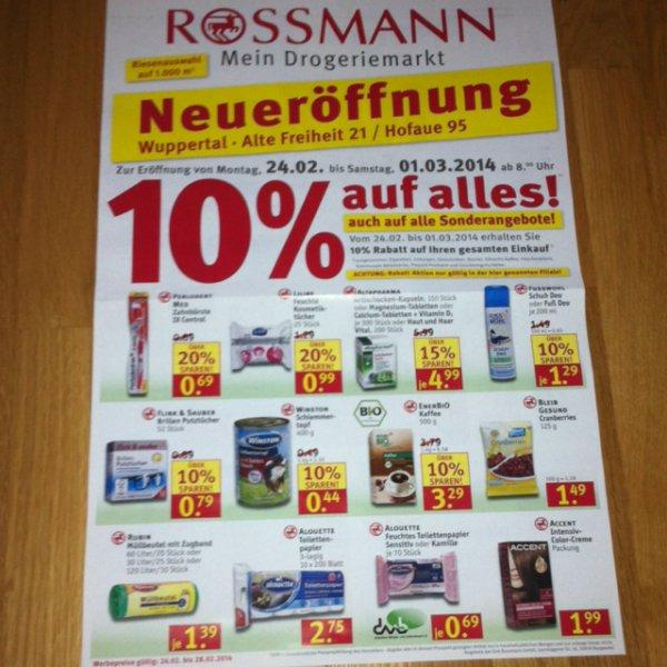 [lokal Wuppertal-Elberfeld] 24.02. - 01.03.2014 zur Neueröffnung 10% auf fast alles bei Rossmann - auch auf Sonderangebote