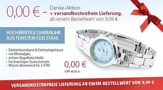 Schmuck bestellen ab 9,99€ - Damenuhr gratis OHNE Versandkosten abkassieren!!
