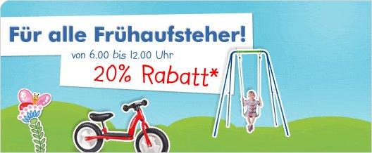 20% Frühaufsteher-Rabatt bei myToys.de von 6.00 bis12.00 Uhr auf ausgewählte Outdoorartikel