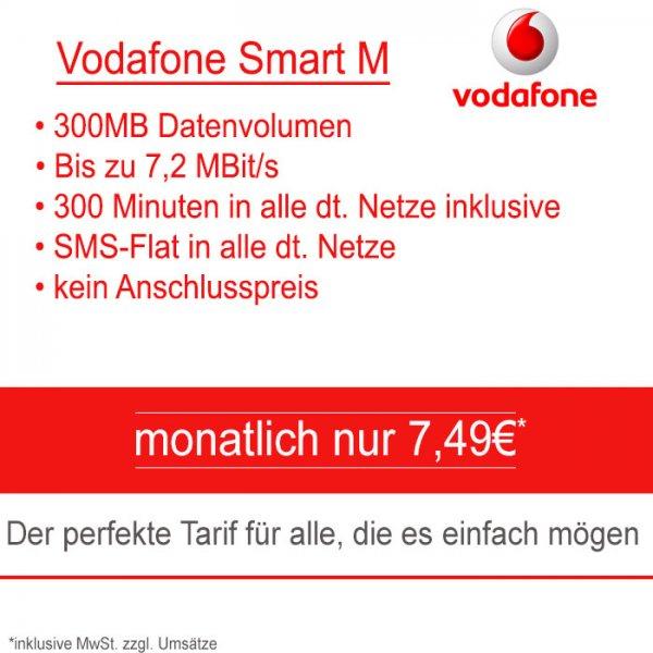 Vodafone Smart M 300 Minuten + Internetflat (300MB) + SMS FLAT für monatlich nur 7,49€