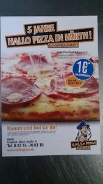 [LOKAL 50354] 10.03.14 - Hallo Pizza Hürth feiert 5 -jähriges - 1x Salamipizza (26cm) 1€ (mit Gutschein) für Selbstabholer