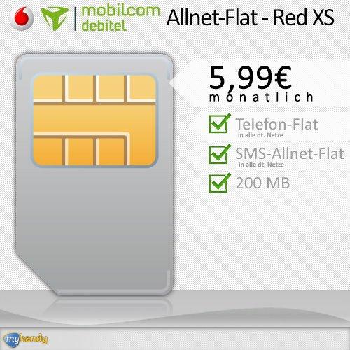 [Ebay]Mobilcom-Vodafone >RED XS allnet Flat  200MB 14,4Mbits/s für 5,99€ mtl