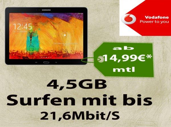 Original Vodafone Mobileinternet Young 14,99€ | SoHo 15,49€ | Normales 19,99€+Samsung Galaxy Tab 3 10.1 P5200 16GB 3G