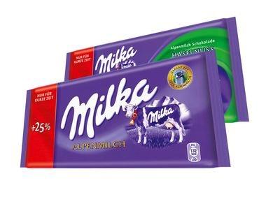 [Lidl] Milka Schokolade, 125g für 0,59 €
