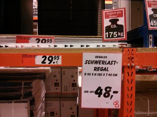 OFFLINE: Bauhaus Regalux Schwerlastregal 2 Stück 175kg/Boden