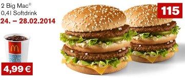 2 Big Mac + 0,4l Softdrink für 4,99€
