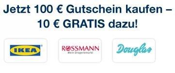 100 € IKEA, Rossmann.. Gutschein kaufen und einen 10 € Gutschein gratis dazu bekommen bei cadooz.com