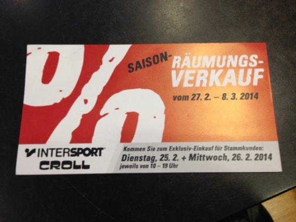 Intersport Croll in Remscheid -direkt am HBF- Saisonräumungsverkauf