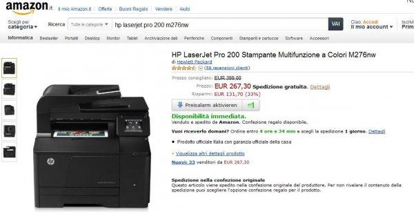 HP LaserJet Pro 200 M276nw für 267,30 € plus Versand