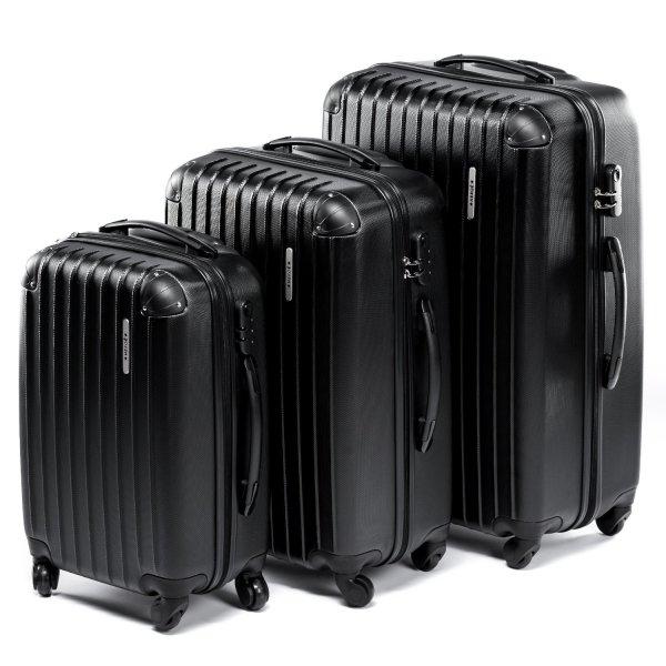 HERGÉ Kofferset LightTec schwarzmatt 3 tlg. mit 4 Rollen@ Amazon Warehouse
