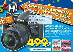 Nikon D3200 SLR Double Zoom Kit inkl. AF-S DX 18-55VR + 55-200VR 499€ Lokal [Euronics Ratingen]